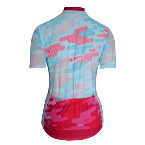 Camisa Ciclismo Feminina Camuflada Azul_1