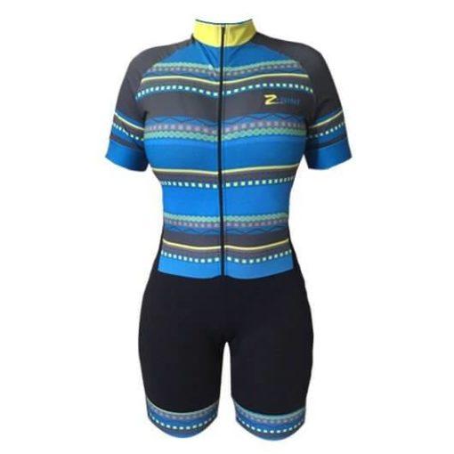 Macaquinho Ciclismo Feminino Yellow Blue