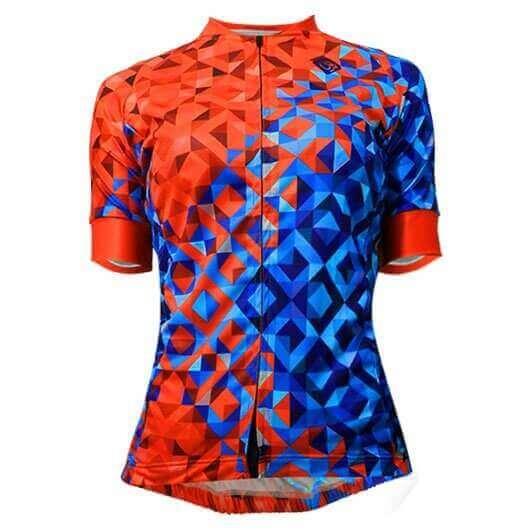 Camisa Ciclismo Feminina Quilt Laranja