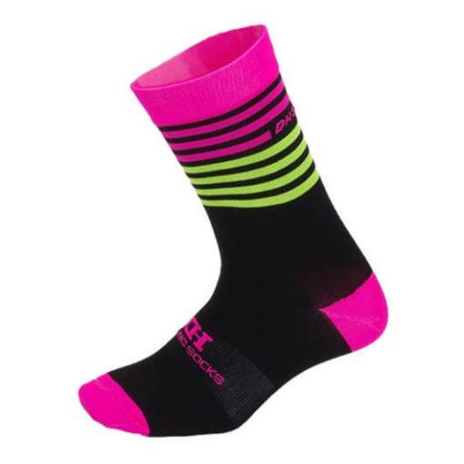 Meia para ciclismo cano médio Pink Stripes