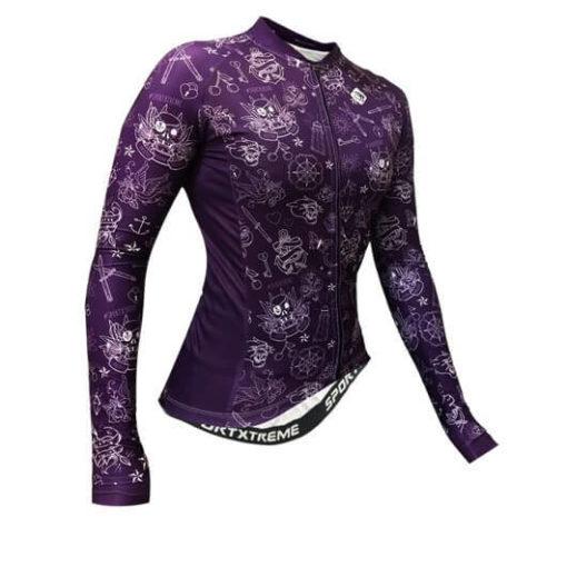 Camisa Ciclismo Feminina Tattoo Violeta_1