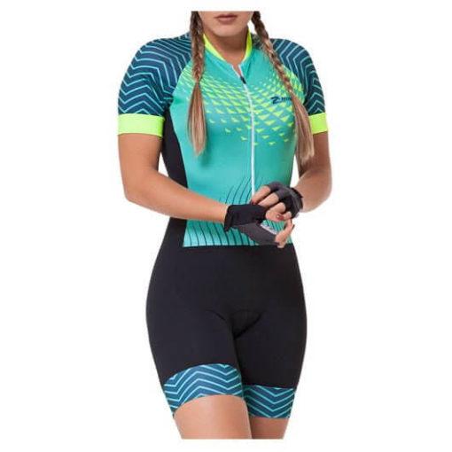Macaquinho Ciclismo Feminino Aqua Waves