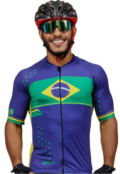 Camisa Masculino Ciclismo Brasil_Azul
