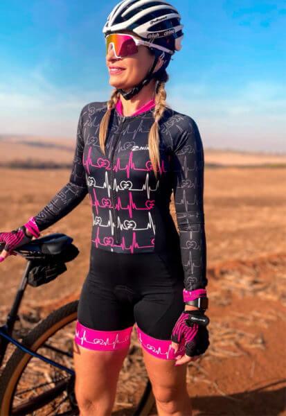 Macaquinho Ciclismo Heartbeat Rosa